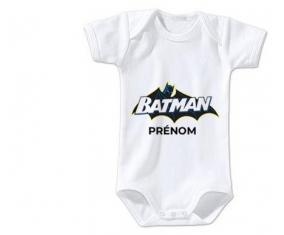 Body bébé Batman logo design-2 avec prénom taille 3/6 mois manches Courtes