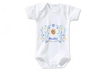 Body bébé Judaisme : Hanoukkia design-3 taille 3/6 mois manches Courtes
