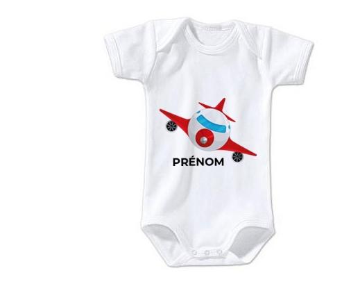 Body bébé Jouet toys avion avec prénom taille 3/6 mois manches Courtes