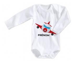 Body bébé Jouet toys avion avec prénom taille 3/6 mois manches Longues