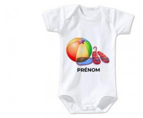 Body bébé Jouet toys ballon masque et tong de plage avec prénom taille 3/6 mois manches Courtes