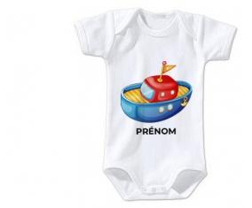Body bébé Jouet toys bateau design-4 avec prénom taille 3/6 mois manches Courtes