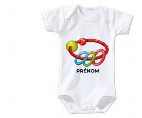 Body bébé Jouet toys hochet avec prénom taille 3/6 mois manches Courtes