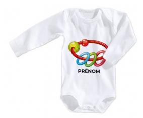 Body bébé Jouet toys hochet avec prénom taille 3/6 mois manches Longues