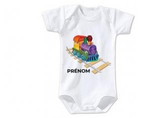Body bébé Jouet toys train design-2 avec prénom taille 3/6 mois manches Courtes