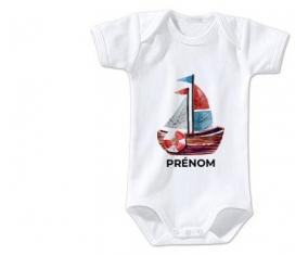 Body bébé Peinture bateau avec prénom taille 3/6 mois manches Courtes
