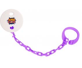 Attache-tétine Super PAPA design-1 couleur Violet