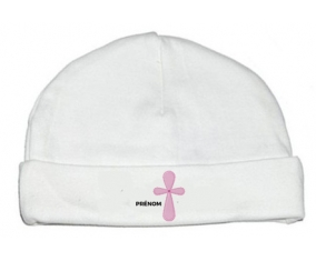 Bonnet bébé design It's a girl croix rose + prénom