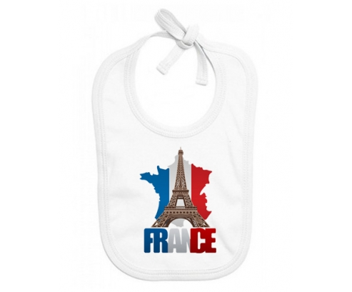 Bavoir bébé personnalisé Carte France + Tour Eiffel