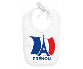 Bavoir bébé personnalisé Drapreau France + Tour Eiffel avec prénom