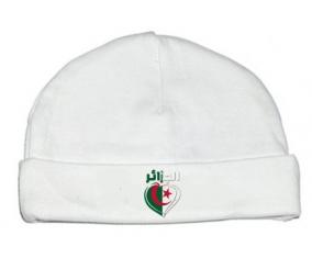 Bonnet bébé personnalisé Algérie en arabe + cœur