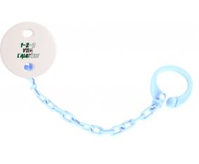 Attache-tetine 1 - 2 - 3 Viva L'algérie couleur Bleu ciel
