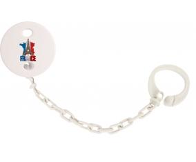 Attache-tetine Carte France + Tour Eiffel couleur Blanc
