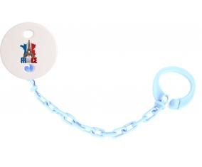 Attache-tetine Carte France + Tour Eiffel couleur Bleu ciel
