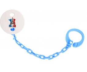Attache-tetine Carte France + Tour Eiffel couleur Bleu turquoise