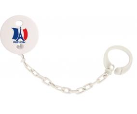 Attache-tétine Drapreau France + Tour Eiffel avec prénom couleur Blanc