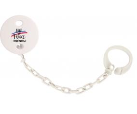 Attache-tetine Vive la France avec prénom couleur Blanc