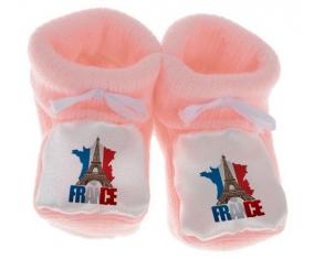 Chausson bébé Carte France + Tour Eiffel de couleur Rose