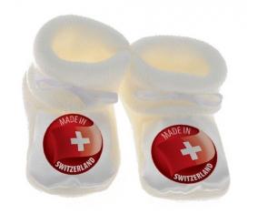 Chausson bébé Made in SWITZERLAND de couleur Blanc
