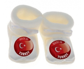 Chausson bébé Made in TURKEY de couleur Blanc