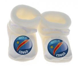 Chausson bébé Made in CONGO de couleur Blanc