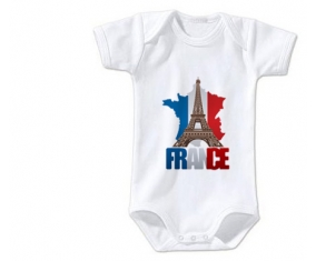 Body bébé Carte France + Tour Eiffel taille 3/6 mois manches Courtes