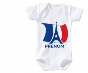 Body bébé Drapreau France + Tour Eiffel avec prénom taille 3/6 mois manches Courtes