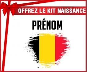 kit naissance bébé personnalisé Drapeau effet pinceau Belgique avec prénom