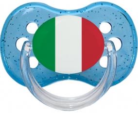 Drapeau Italie Tétine Cerise Bleu à paillette