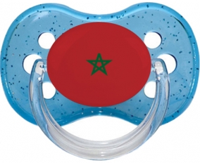 Drapeau Maroc Tétine Cerise Bleu à paillette