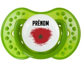 Drapeau effet pinceau Maroc avec prénom Tétine LOVI Dynamic Vert classique