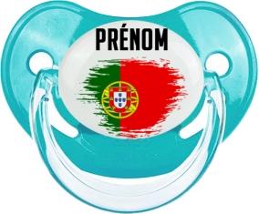 Drapeau effet pinceau le Portugal avec prénom Tétine Physiologique Bleue classique