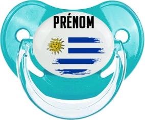 Drapeau effet pinceau Uruguay avec prénom Tétine Physiologique Bleue classique