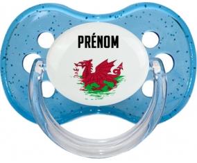 Drapeau effet pinceau Pays de Galles avec prénom Tétine Cerise Bleu à paillette