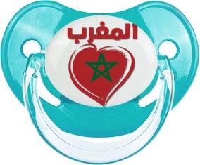 Maroc en arabe + cœur Tétine Physiologique Bleue classique