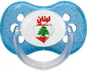 Liban en arabe + cœur Tétine Cerise Bleu à paillette