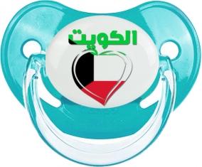 Koweït en arabe + cœur Tétine Physiologique Bleue classique