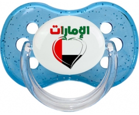 Émirats arabes unis en arabe + cœur Tétine Cerise Bleu à paillette
