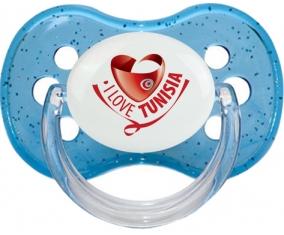 I Love Tunisia Tétine Cerise Bleu à paillette