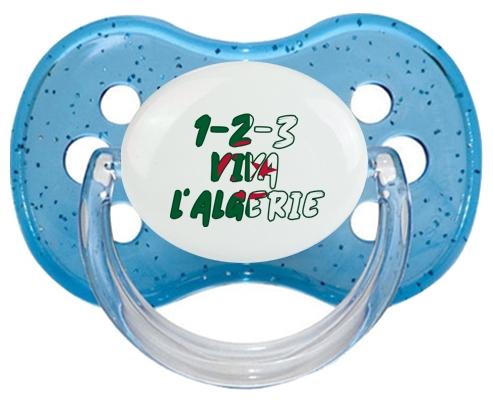 1 - 2 - 3 Viva L'algérie Tétine Cerise Bleu à paillette