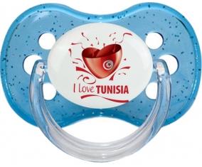 I love Tunisia design 2 Tétine Cerise Bleu à paillette