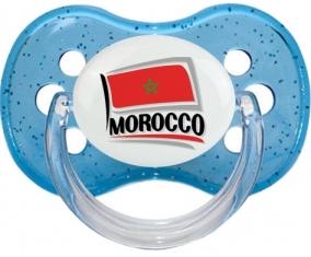 Flag Morocco design 1 Tétine Cerise Bleu à paillette