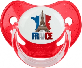 Carte France + Tour Eiffel Sucete Physiologique Rouge à paillette