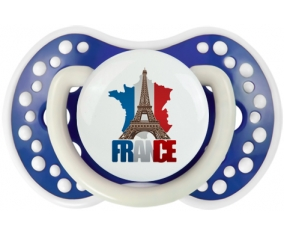 Carte France + Tour Eiffel Tétine LOVI Dynamic Bleu-marine phosphorescente