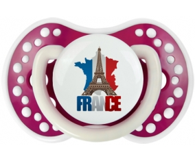 Carte France + Tour Eiffel Tétine LOVI Dynamic Fuchsia phosphorescente