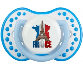 Carte France + Tour Eiffel Tétine LOVI Dynamic Blanc-bleu phosphorescente