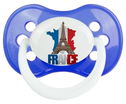 Carte France + Tour Eiffel Sucette Anatomique Bleu classique