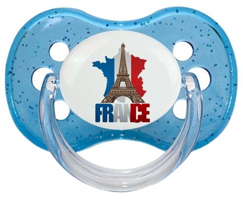 Carte France + Tour Eiffel Sucette Cerise Bleu à paillette