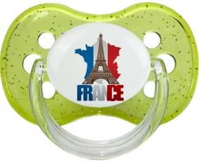 Carte France + Tour Eiffel Sucette Cerise Vert à paillette