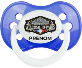 Welcome to Paris avec prénom Tétine Anatomique Bleu classique
